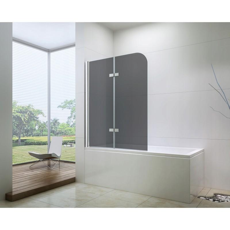Sprchová zástěna na vanu MEXEN FELIX dvoukřídlá, šedé sklo, 100x140 cm