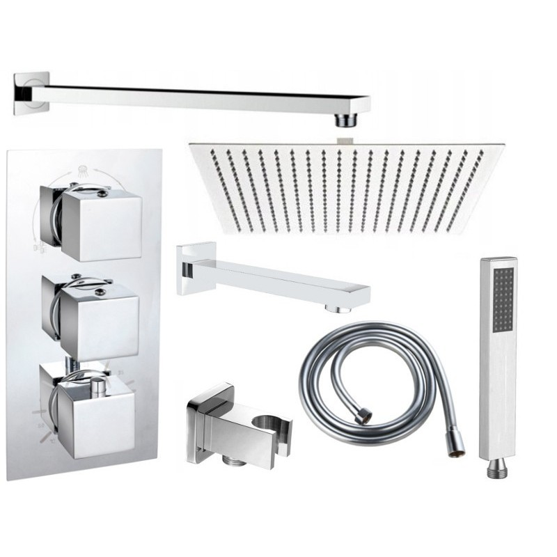 Sprchový-vanový set podomítkový CUBE 7v1 chrom