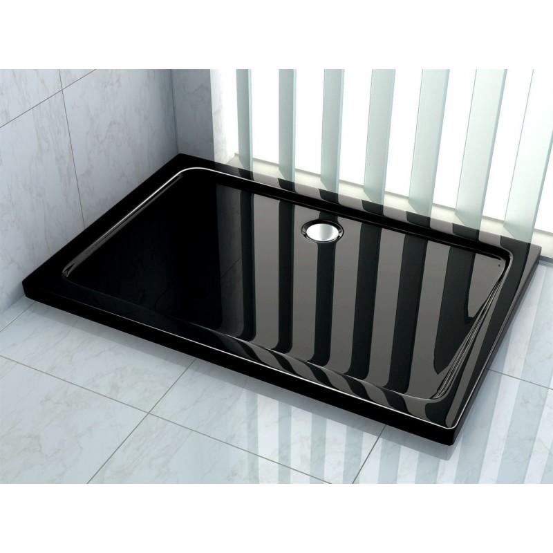 Sprchová vanička + sifon REA BRENO BLACK 80x100 cm