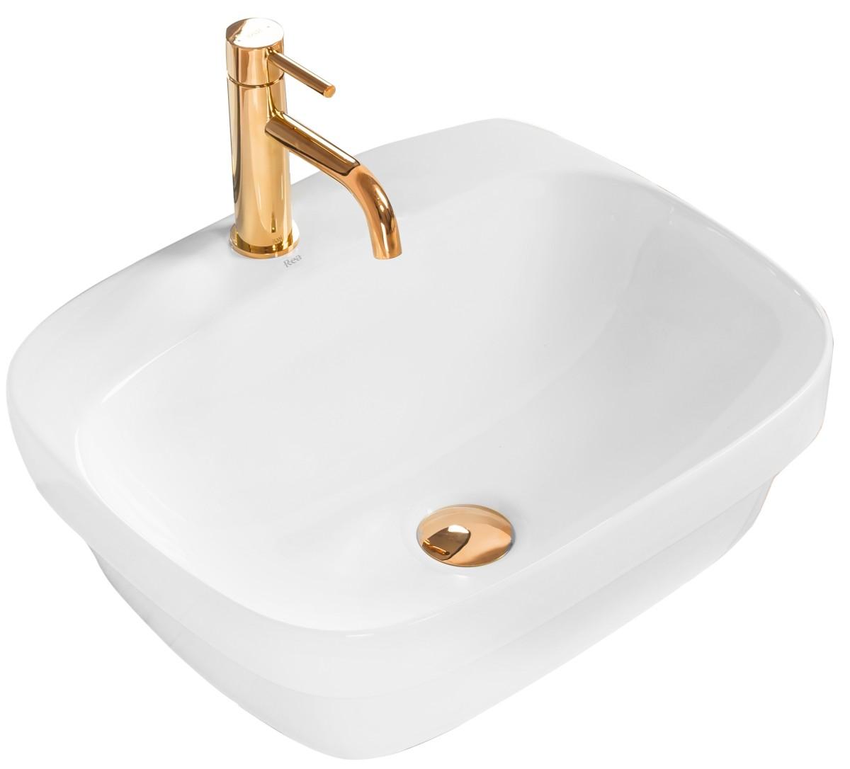 Keramické umývadlo na dosku Rea Marika 50 × 43 cm biele