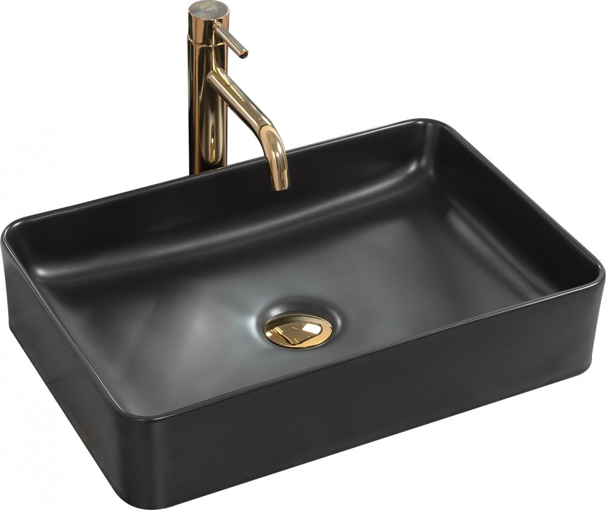 Keramické umývadlo na dosku Rea Avia 50,5 × 34,5 cm čierne