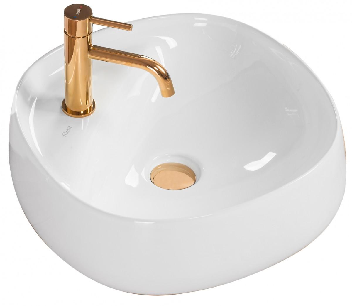 Keramické umývadlo na dosku Rea Pola 46 × 46 cm biele