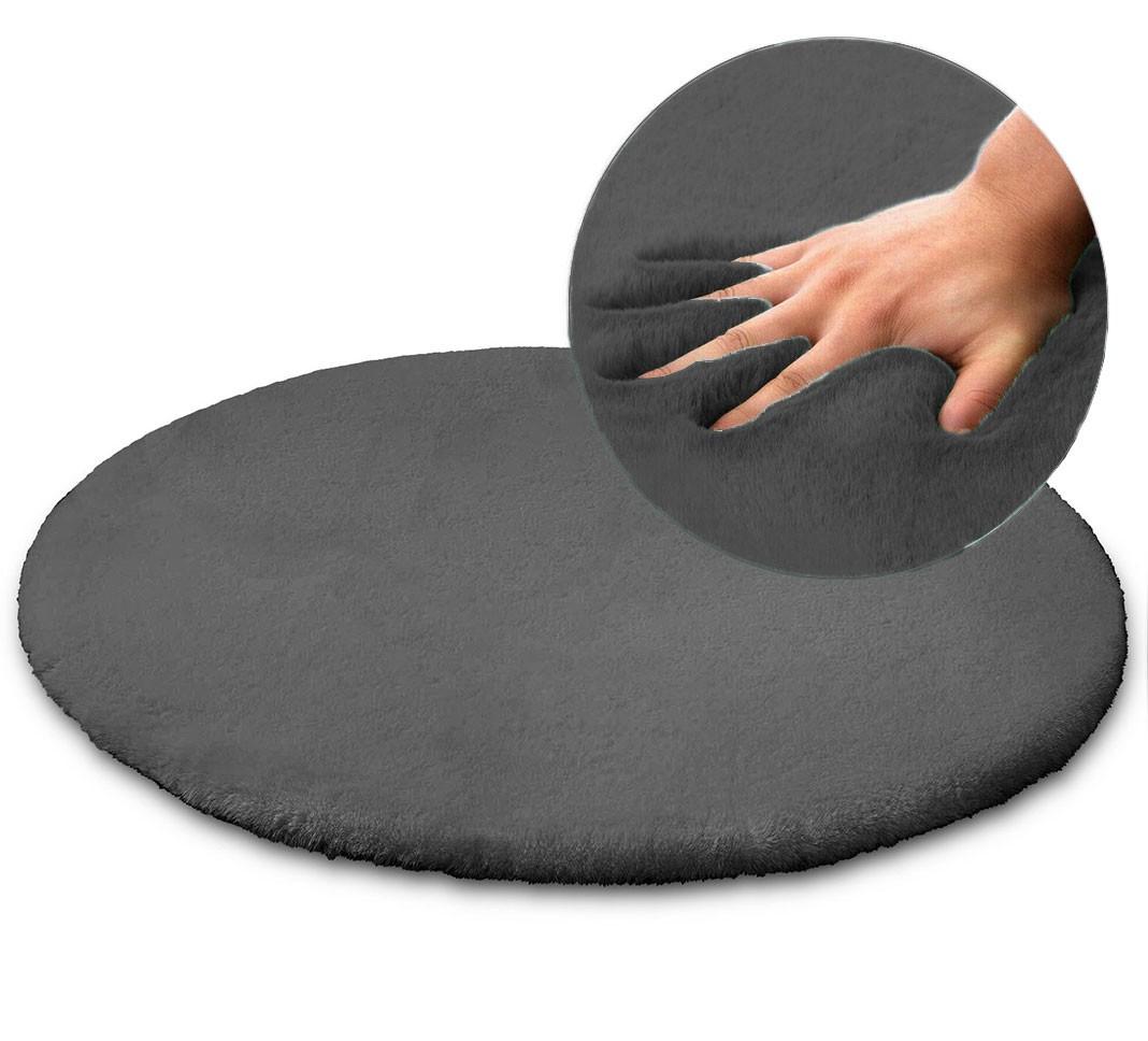 Kulatý koberec Rabbit 100cm tmavě šedý