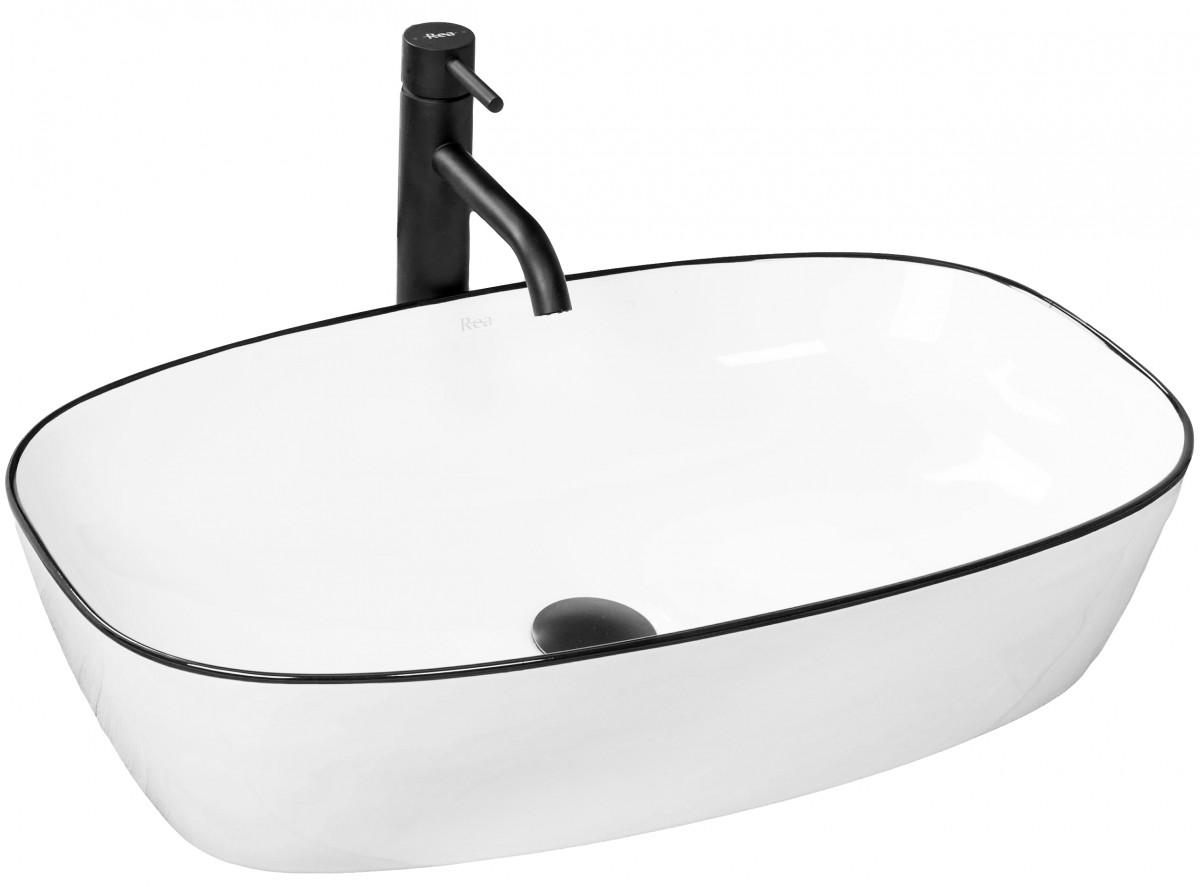 Keramické umyvadlo na desku Rea Jovita 60x38 cm bílé