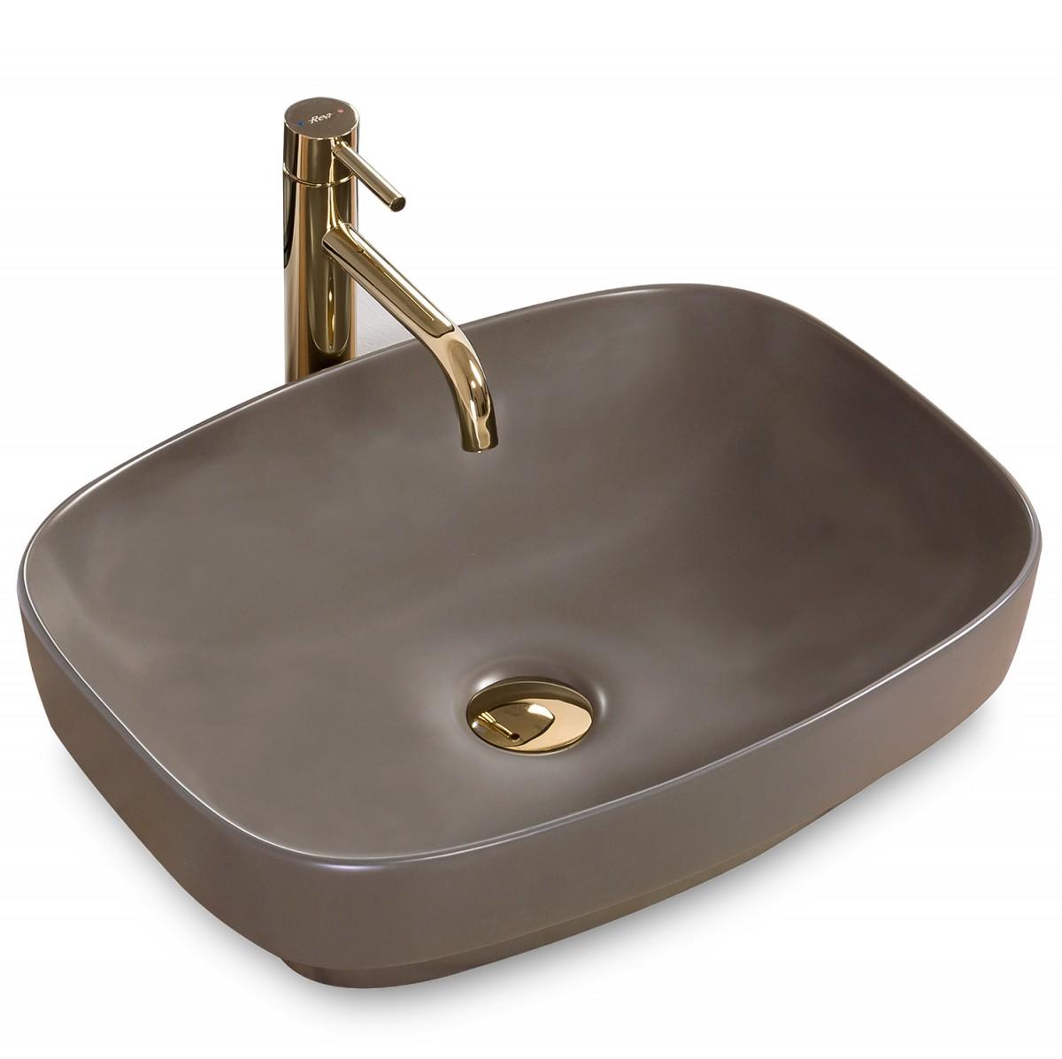 Keramické umývadlo na dosku Rea Gizel 50 × 39 cm Grey