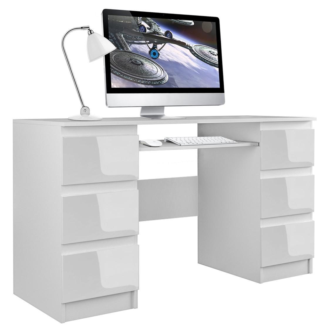 Písací stôl KUBA lesk biely