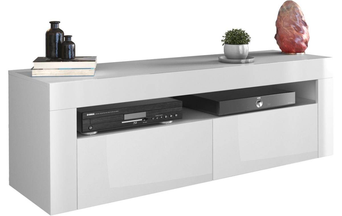 TV stolek DEKO 2D 140 cm bílá lesk