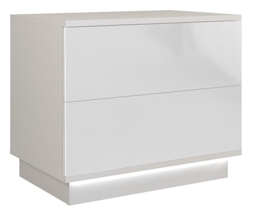 Nočný stolík Sela biely lesklý + LED osvetlenie