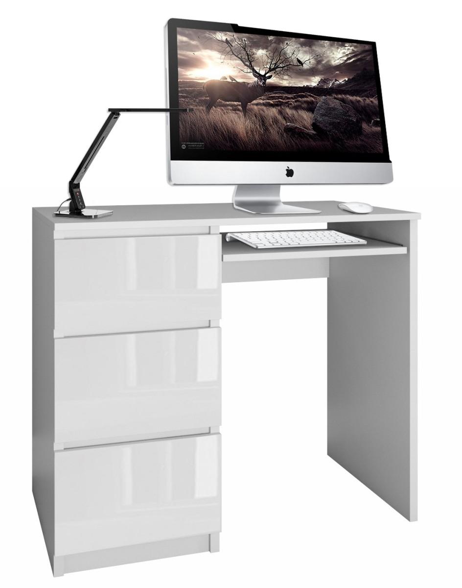 Písací stôl Lima ľavý biely lesklý