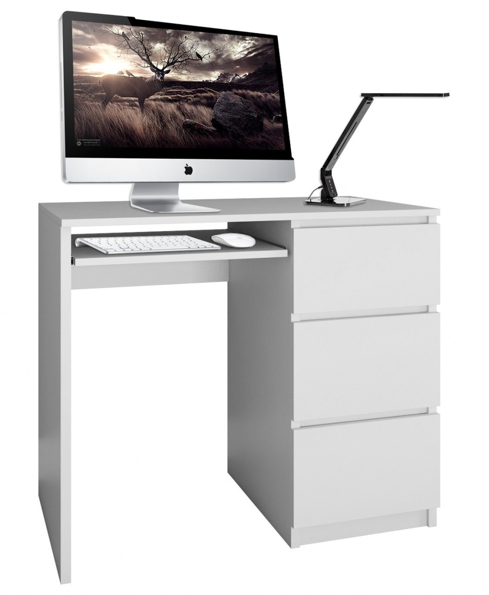 Písací stôl Lima pravý biely matný