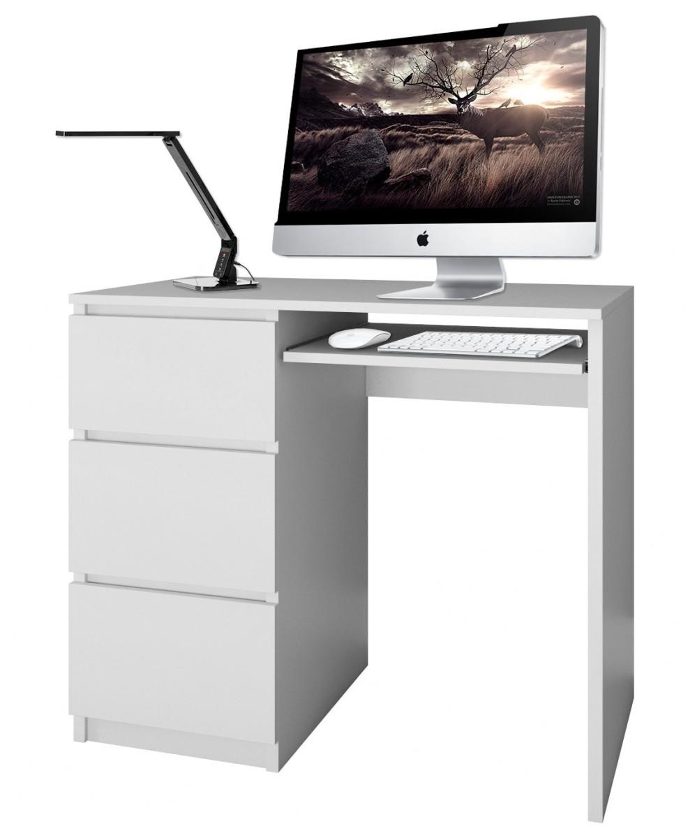 Písací stôl Lima ľavý biely matný