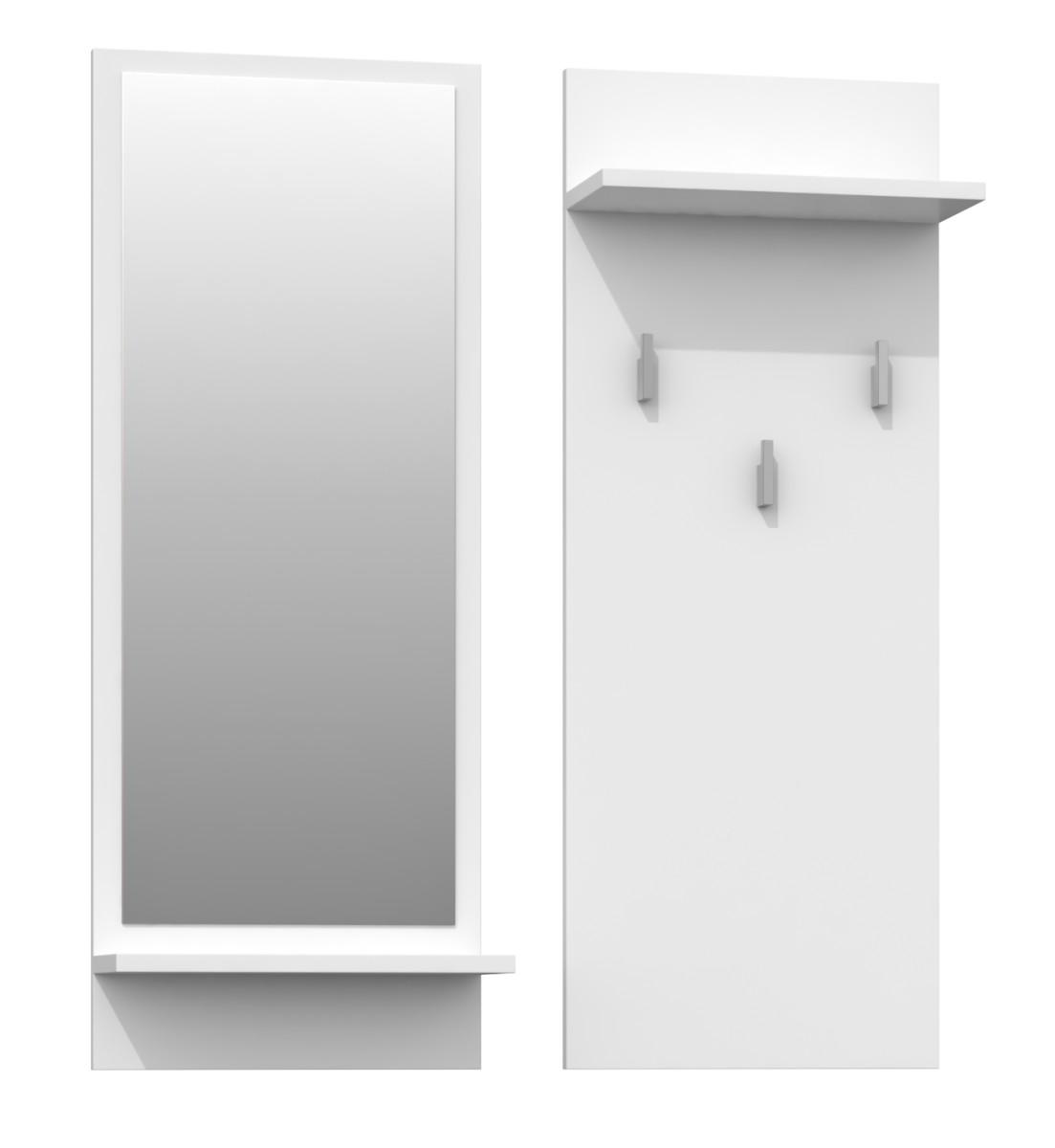 Věšáková stěna se zrcadlem- RIVA- bílý mat