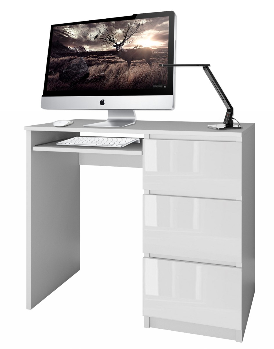 Písací stôl Lima pravý biely lesklý