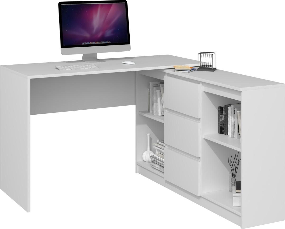 Písací stôl s komodou Meghan 2D3S biely matný