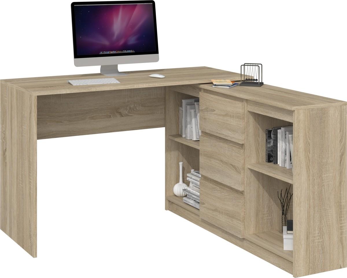 Písací stôl s komodou Meghan 2D3S svetlohnedý