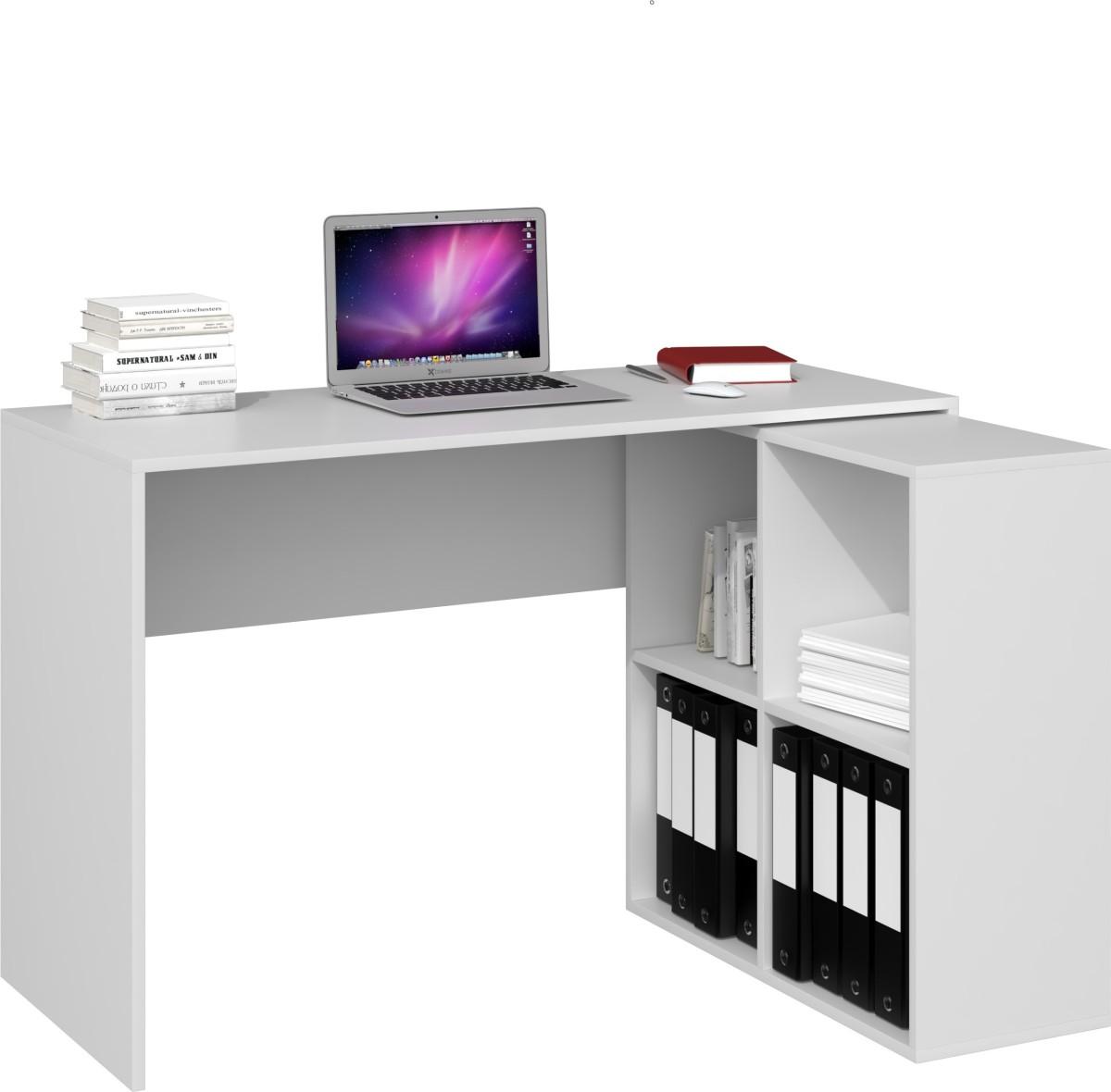 Písací stôl s komodou Malax biely matný