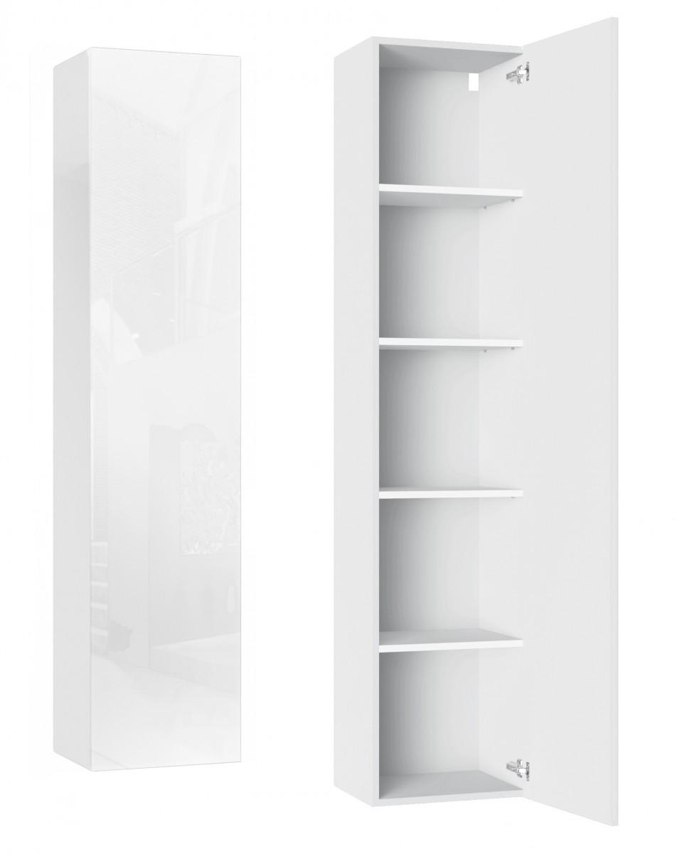 Závěsná skříň VIDA 9 180 cm bílý lesk