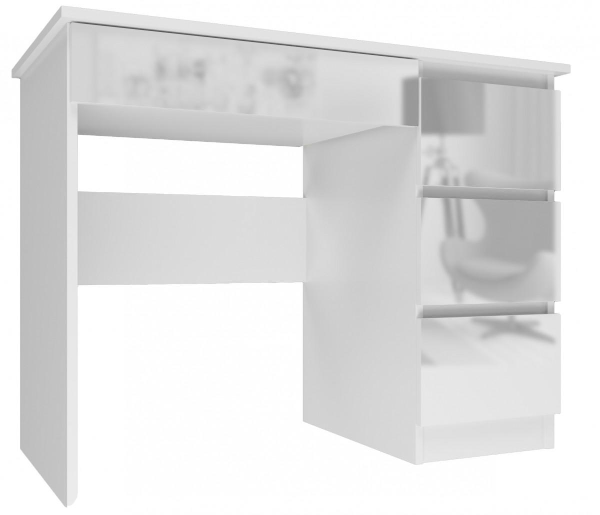 Psací stůl Mijas pravý bílý lesk