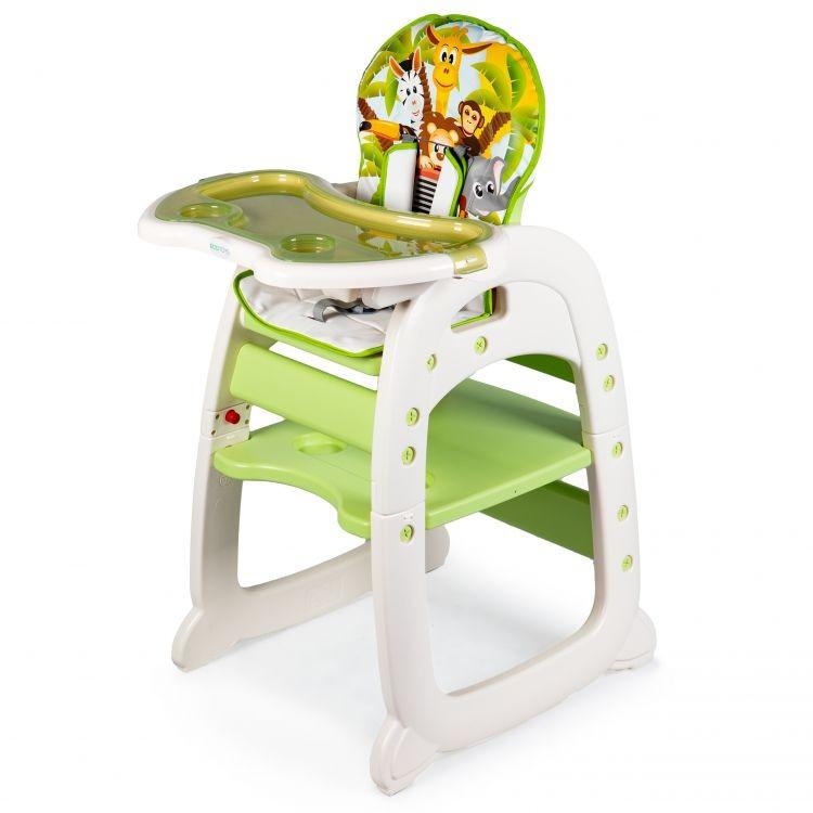 Dětská jídelní židle 2v1 Animals zelená