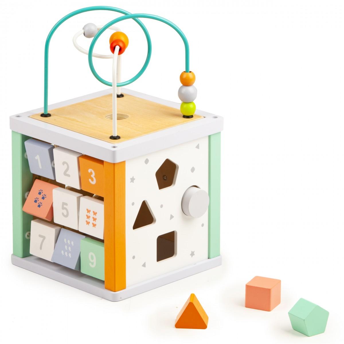 Vzdelávacia drevená kocka pre deti + malé kocky