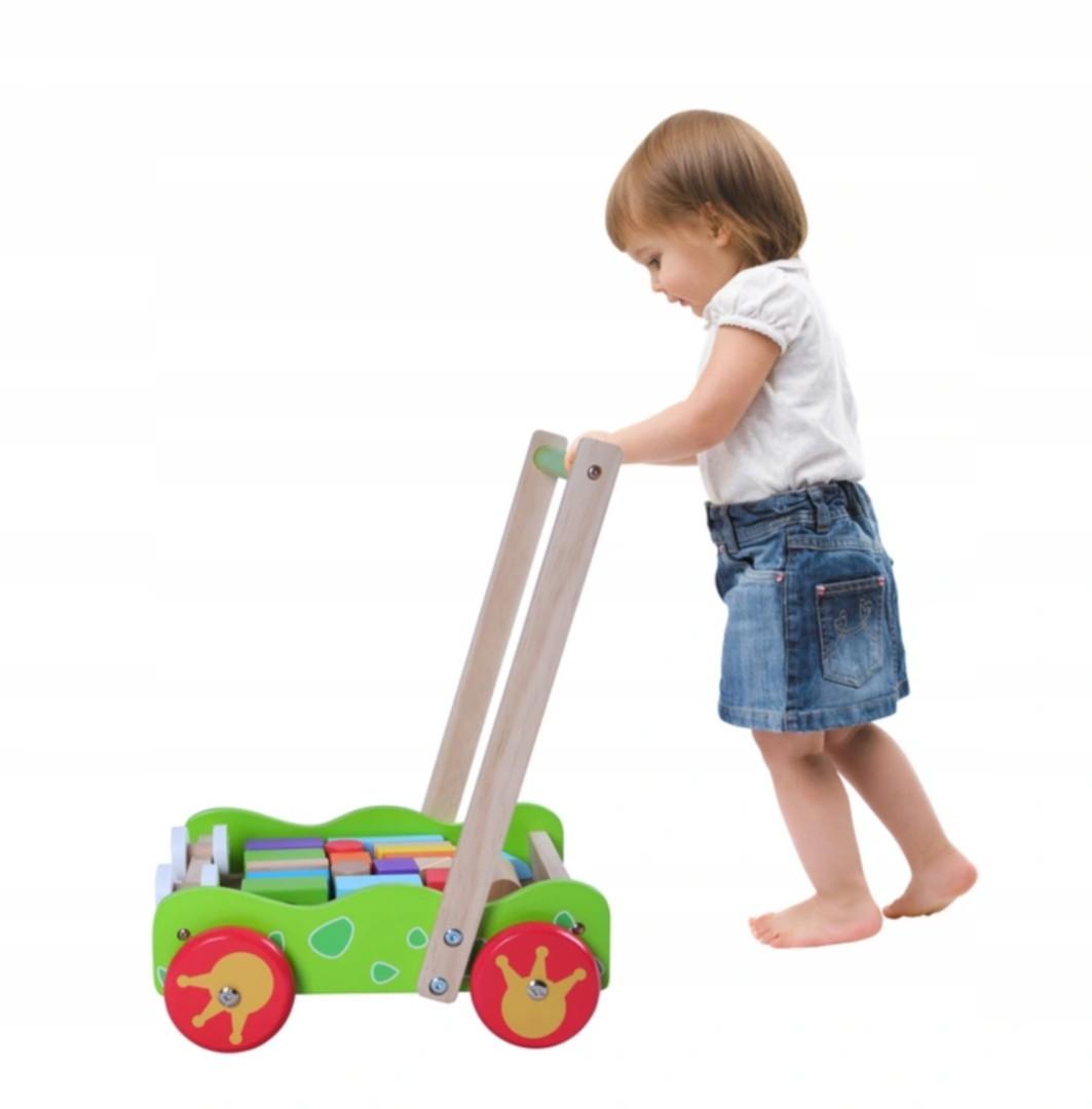 Drevený vozík - chodítko Eco Toys s kockami 20 ks