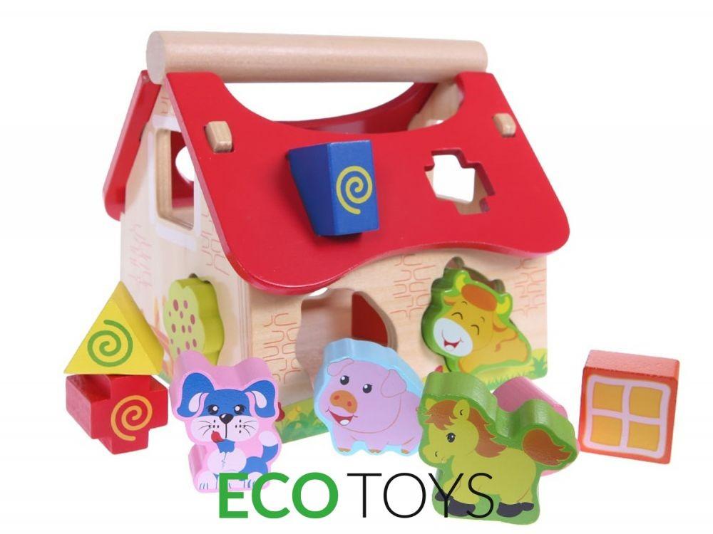 Dřevěný domek farma se zvířátky Eco Toys