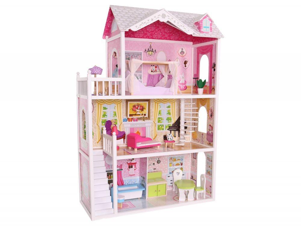 Dřevěný domek pro panenky Rezidence Kalifornie Eco Toys + panenka zdarma
