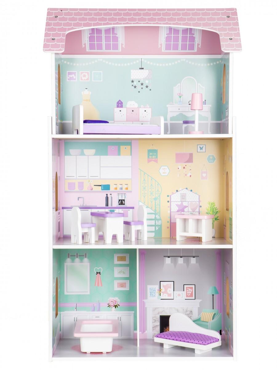 Drevený domček pre bábiky ružový