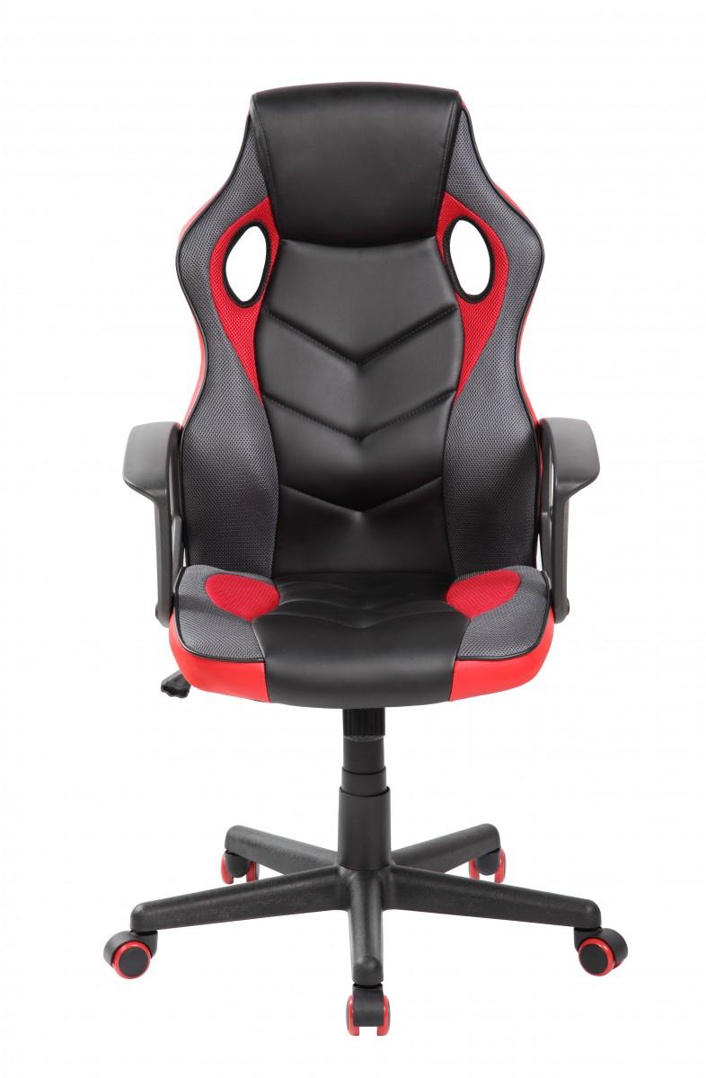 Otočná herná stolička FERO červeno-čierna