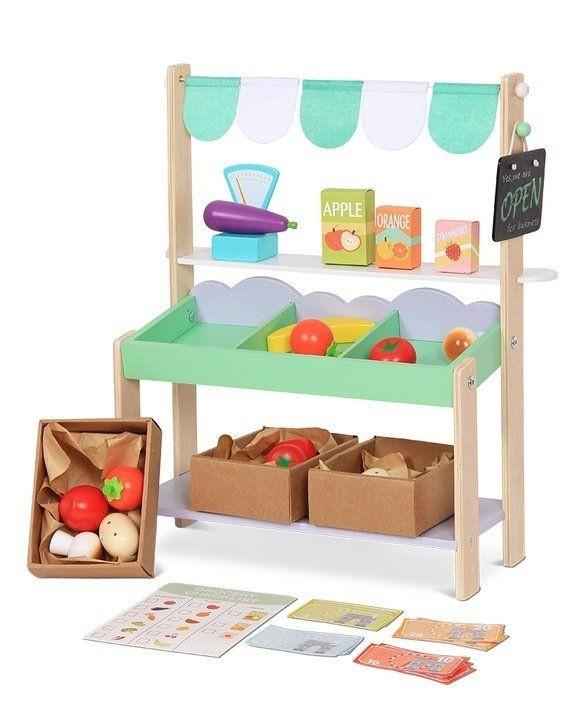 Drevená tržnica pre deti + 37 kusov