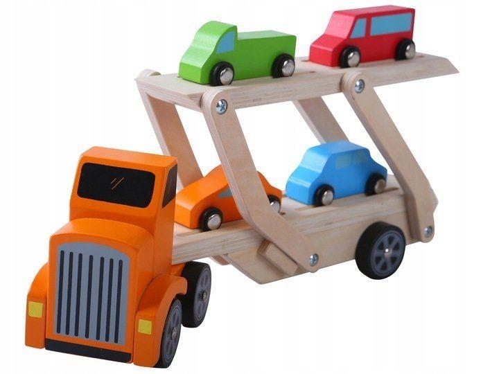 Drevený nákladiak + 4 autíčka