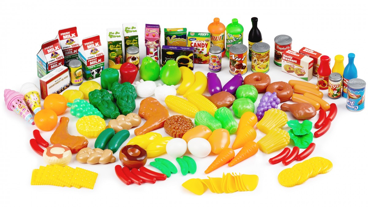 Plastová zelenina, ovocie a potraviny do kuchyne GoodHome - 120 kusov