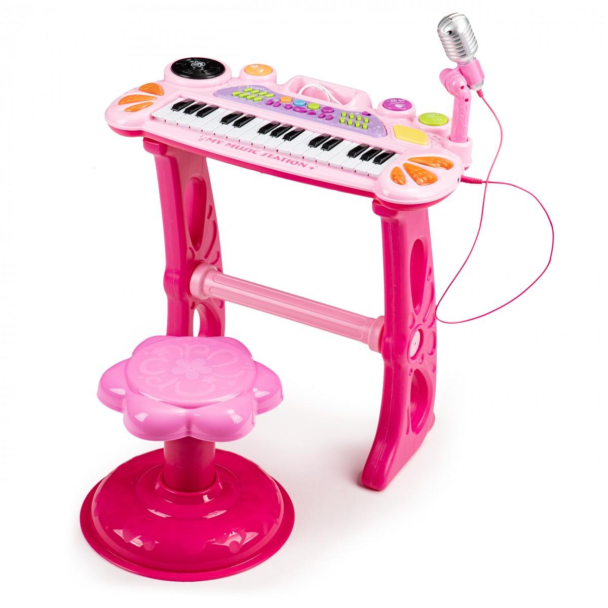 Dětské piano s mikrofonem Laura růžové