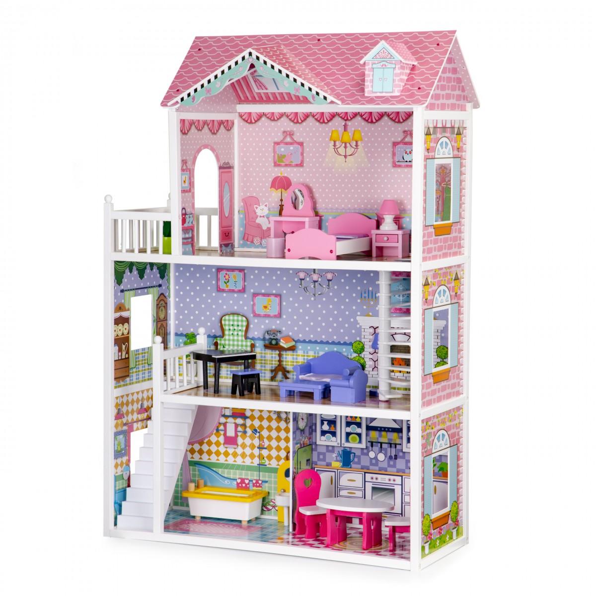 Drevený domček pre bábiky XXL s nábytkom EcoToys ružový