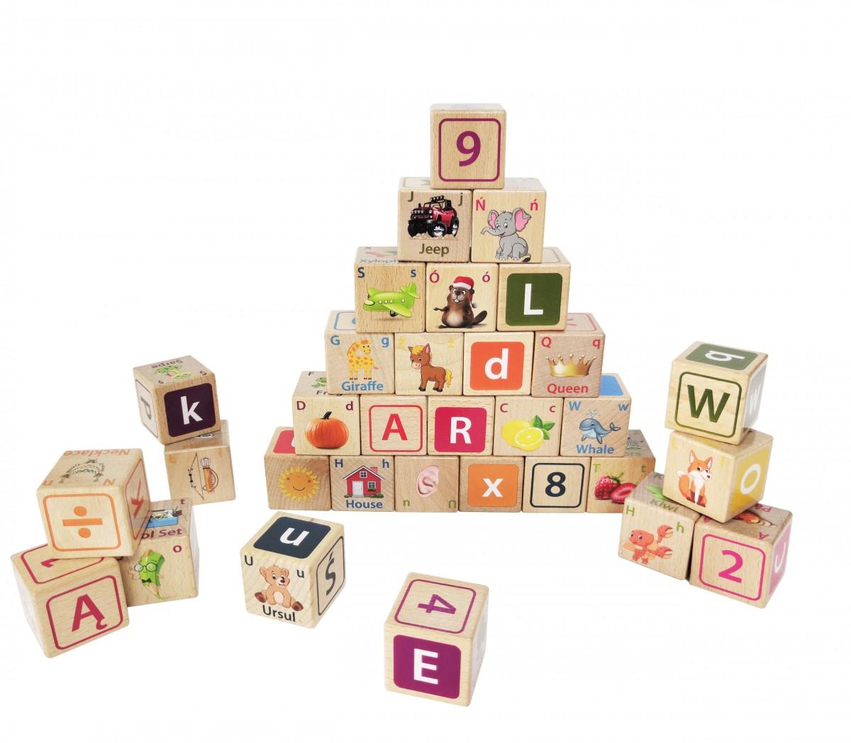 Drevené edukačné kocky Litera EcoToys