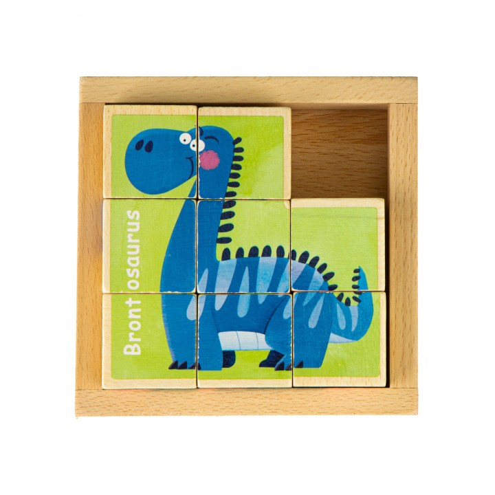 Drevené kocky Dino EcoToys hnedé
