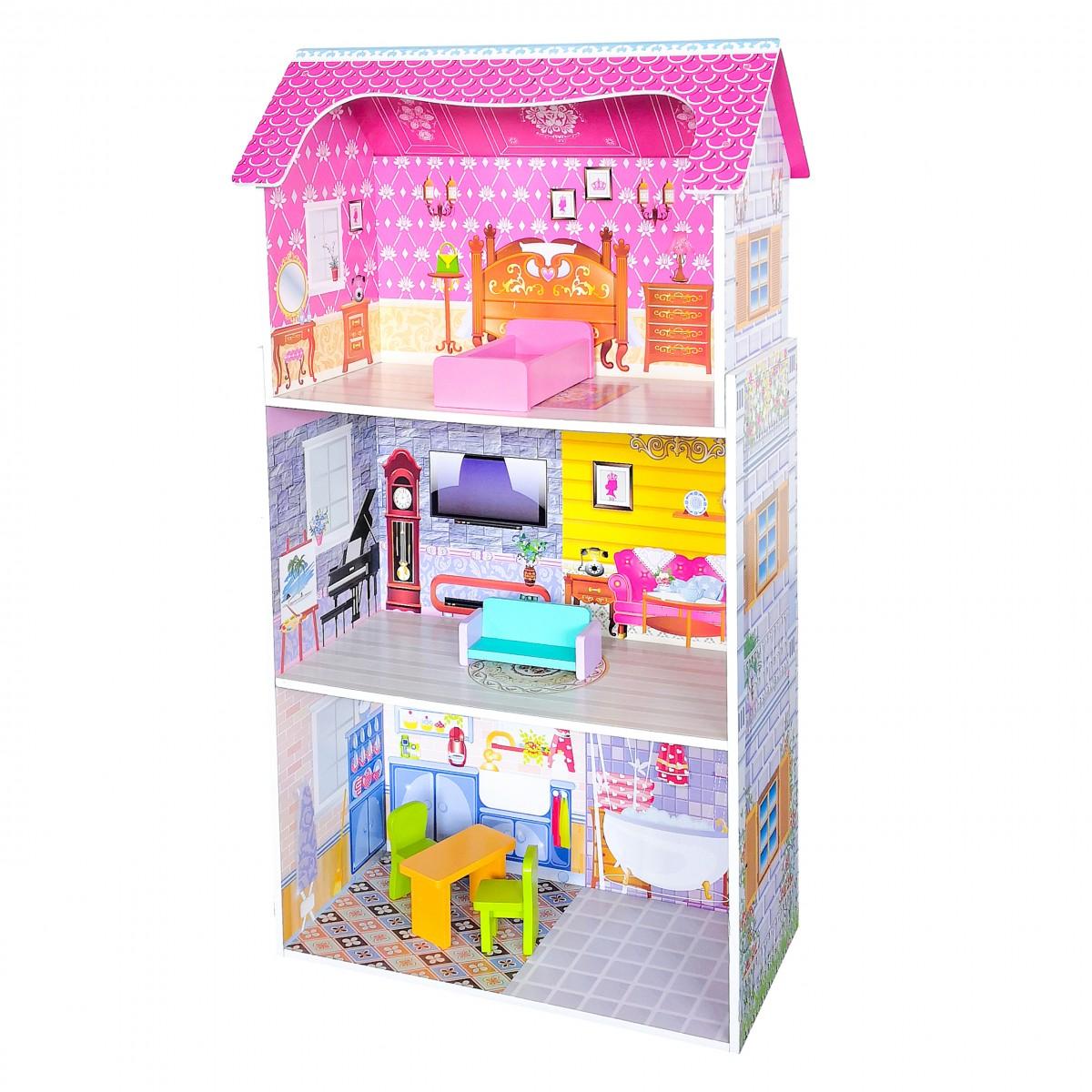 Drevený domček pre bábiky EcoToys Rosa ružový + nábytok