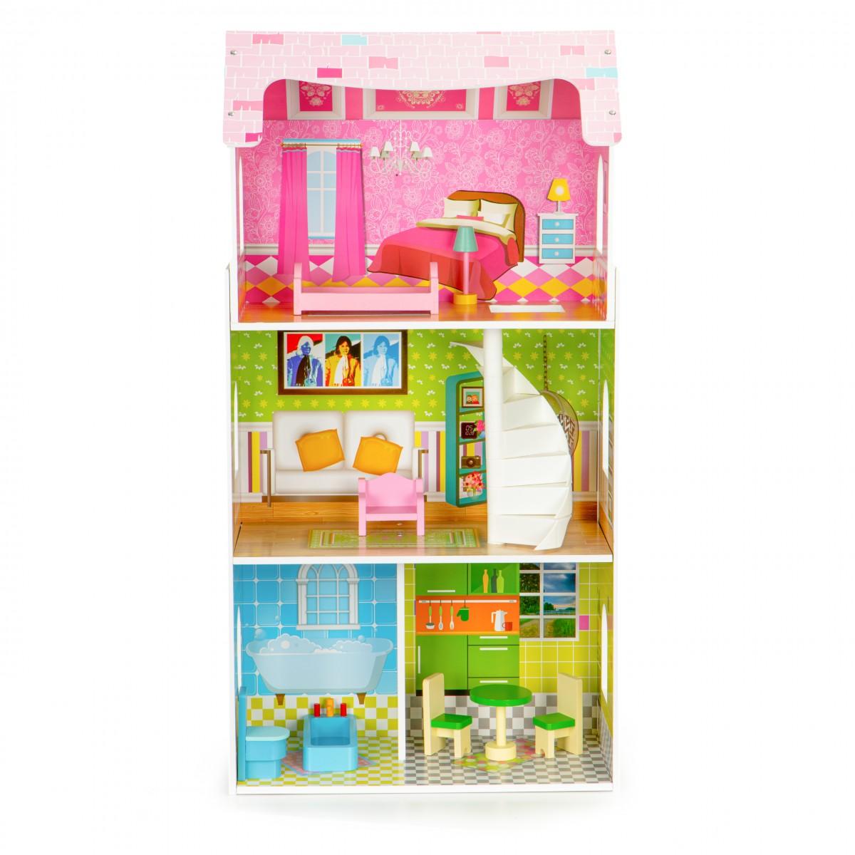 Drevený domček pre bábiky EcoToys Mei ružový + nábytok