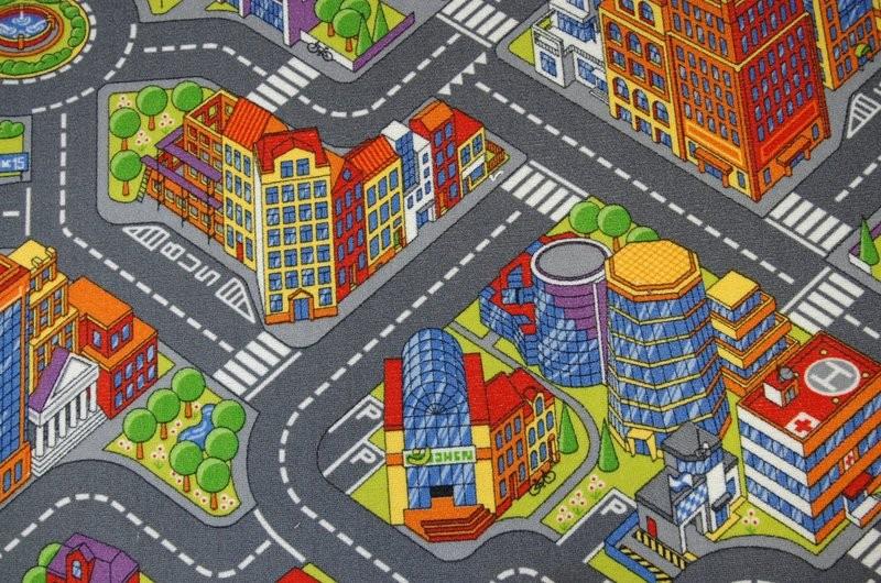 Dětský koberec BIG CITY šedý