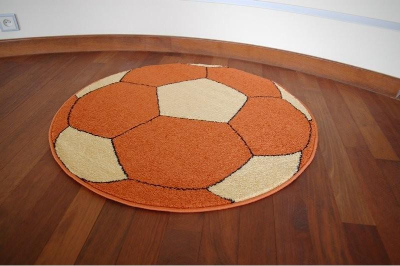 Detský guľatý koberec WELIRO FOOTBALL oranžový