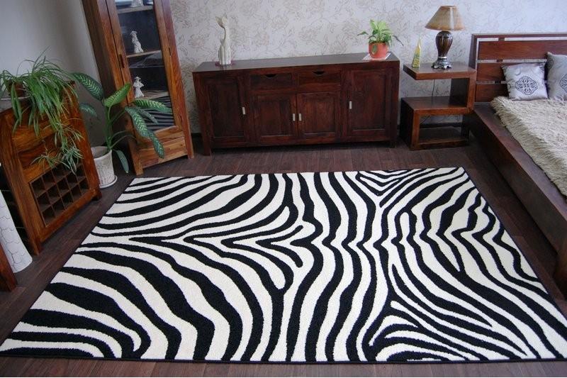 Detský koberec FUNKY ZEBRA bielo-čierny