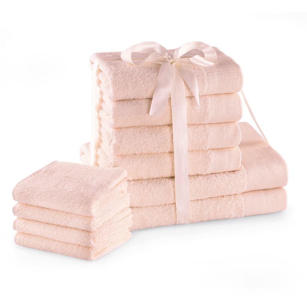 Sada bavlněných ručníků AmeliaHome AMARI 2+4+4 ks světle růžová