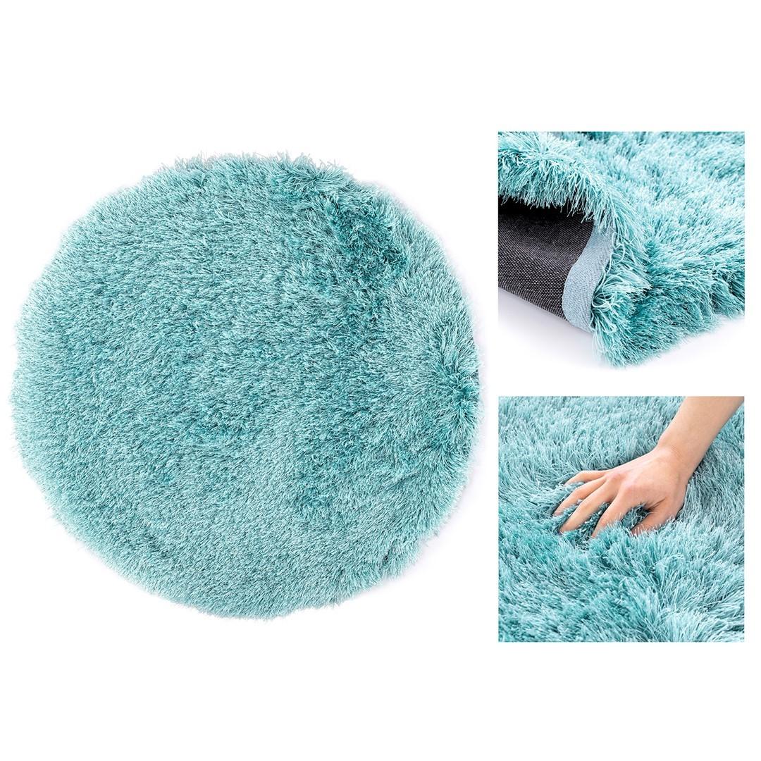 Kulatý koberec Floro modrý