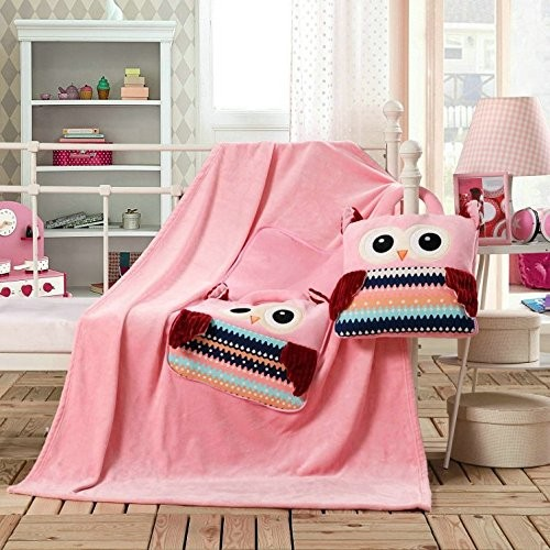 Dětská deka z mikrovlákna DecoKing Owl růžová