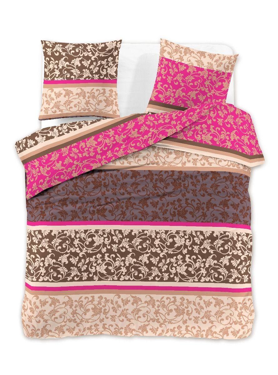 Povlečení z bavlny + 2 povlaky DecoKing Oriela hnědo-růžové