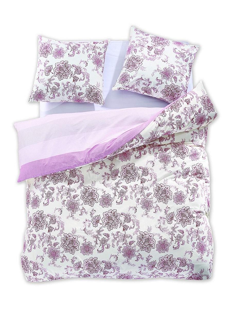 Bavlnené obliečky DecoKing Diamond Pottery ružovo-biele