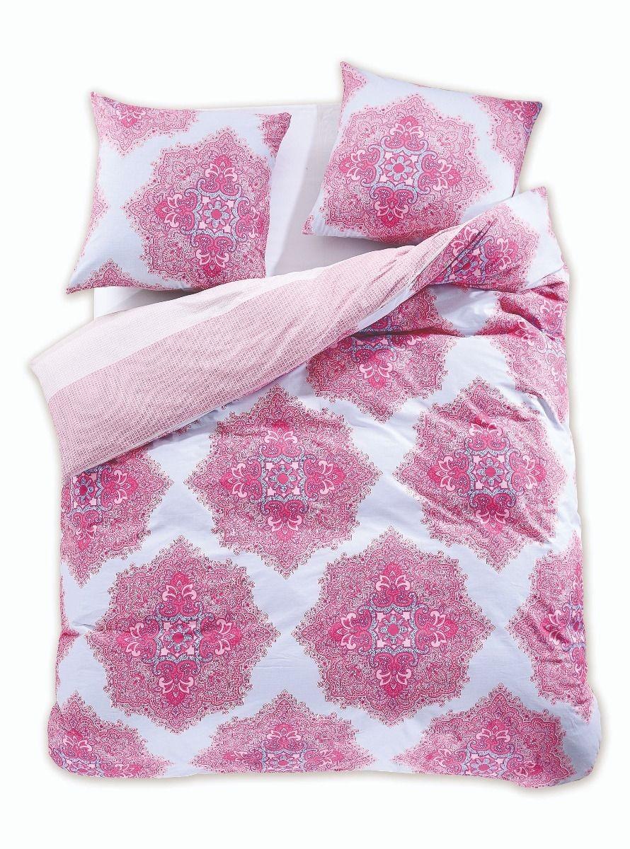 Bavlnené obliečky DecoKing Diamond Isolde ružovo-biele