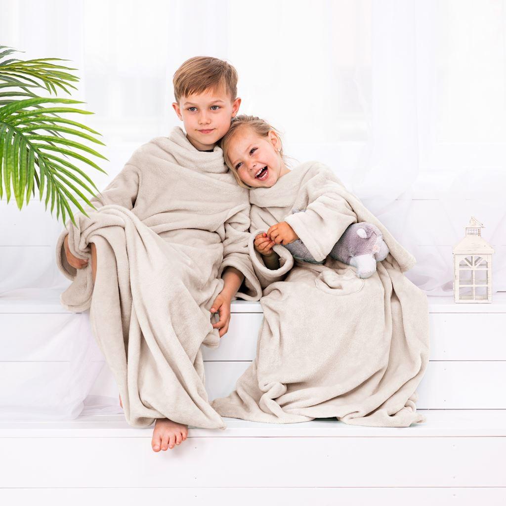 Detská deka s rukávmi DecoKing Lazy krémová