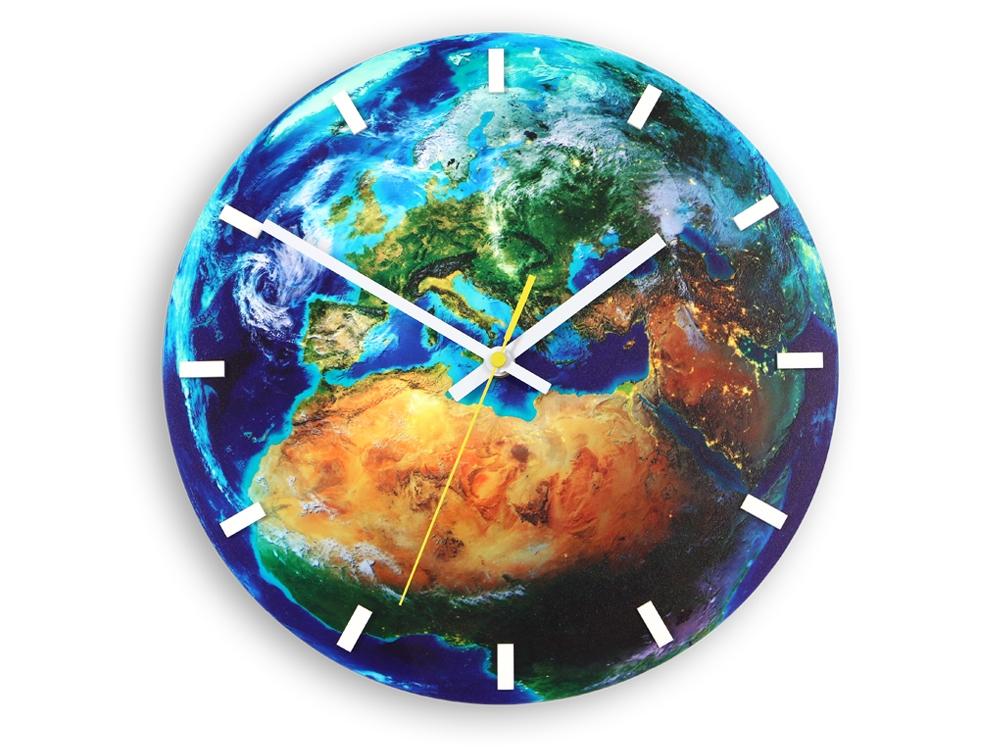 Nástěnné hodiny Globe modré