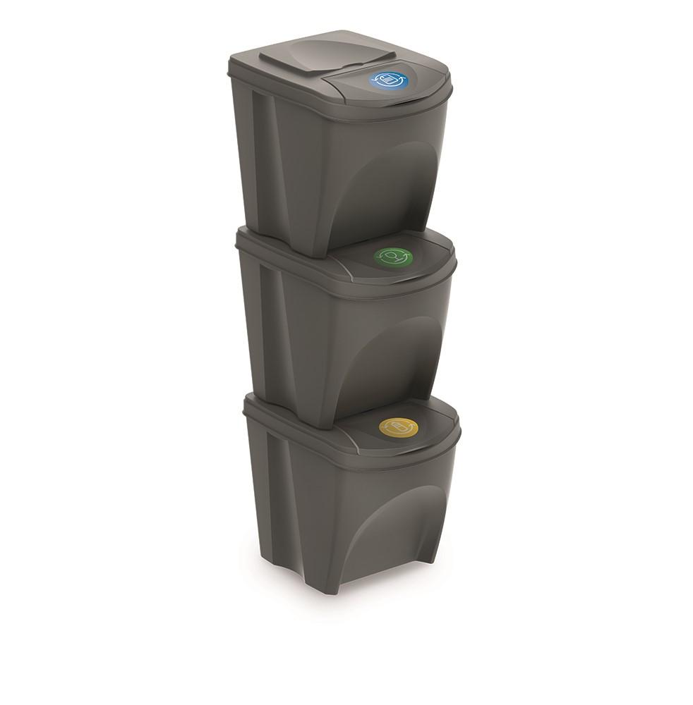 Sada 3 odpadkových košů 3x25 L DEILA šedá